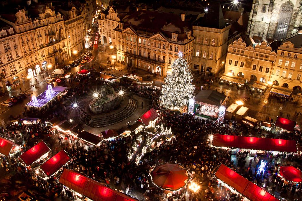 Mercatini di Natale di Praga- vista notturna